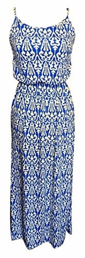 Blue-White Women's Damask Spring and Summer Sleeveless Blouson Maxi Dress (Medium)