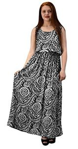 Mosaic Black Damask Spring Summer Sleeveless Blouson Maxi Dress