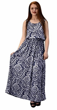 Mosaic Navy Women's Damask Spring and Summer Sleeveless Blouson Maxi Dress