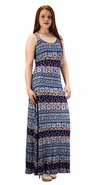 Navy Women's Damask Spring and Summer Sleeveless Blouson Maxi Dress
