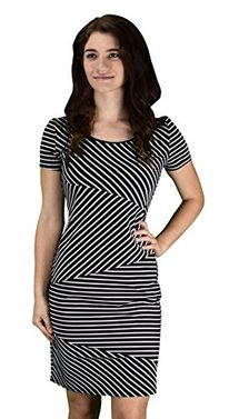Women's Fashion Diagonal Striped Bodycon Party Dress