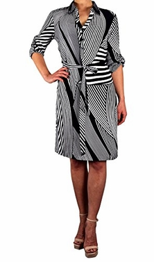 Women's Soft Striped Button V Neck Shift Dress 3/4 Sleeves (Small)