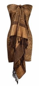 Elegant Vintage Jacquard Paisley Shawl Wrap (Coffee and Light Brown)