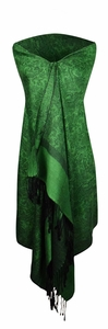 Green and Black Vintage Jacquard Paisley Shawl Wrap