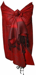 Red/Black Vintage Jacquard Paisley Shawl Wrap