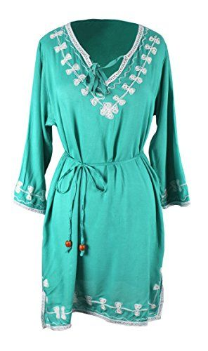 Peach Couture Women's Embroidered Tunic 3 Quarter Sleeves V Neck Summer Dress Medium Embroidered Jade
