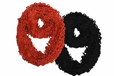 Tangerine/Ebony Women's Extra Soft and Light Edgy Plush Ruffle Infinity Loop Scarf (2 Pack)