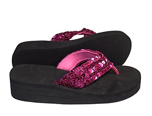 Fuchsia Women's Fashion Sequin Foam Wedge Heeled Platform Beach Sandal
