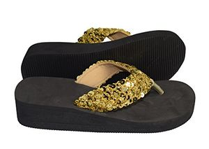 Sandal Gold Women's Fashion Sequin Foam Wedge Heeled Platform