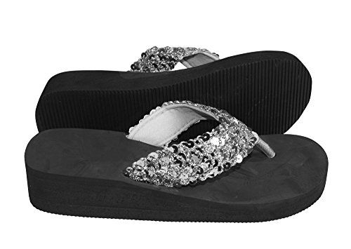 Silver Women's Fashion Sequin Foam Wedge Heeled Platform Beach Sandal