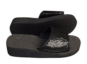 Black Women's Fashion Slipper Sequin Slip On Slide Sandal Foam Wedge Shoes