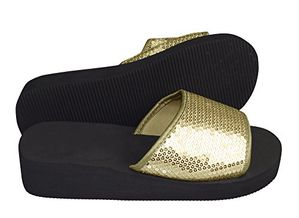 Peach Couture Women's Fashion Slipper Sequin Slip On Slide Sandal Foam Wedge Shoes Gold