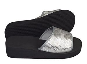 Silver Women's Fashion Slipper Sequin Slip On Slide Sandal Foam Wedge Shoes