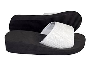White Women's Fashion Slipper Sequin Slip On Slide Sandal Foam Wedge Shoes