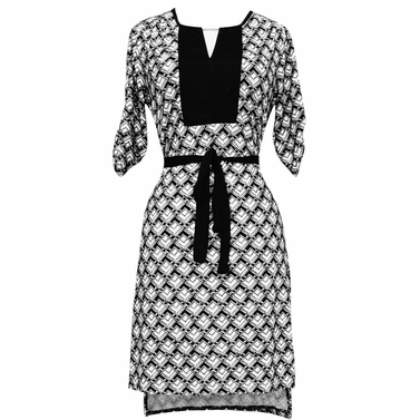 Black-White Geometric Goddess Dress