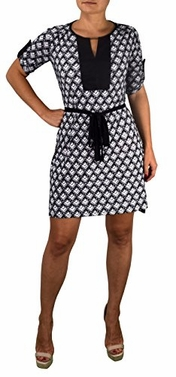 Black-White Women's Geometric Square Hi Low Mid-Length Shift Dress (Large)