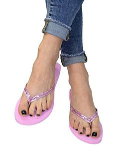 Pink Women's Glitter Embellished Strappy Heart Design Slip On Sandals