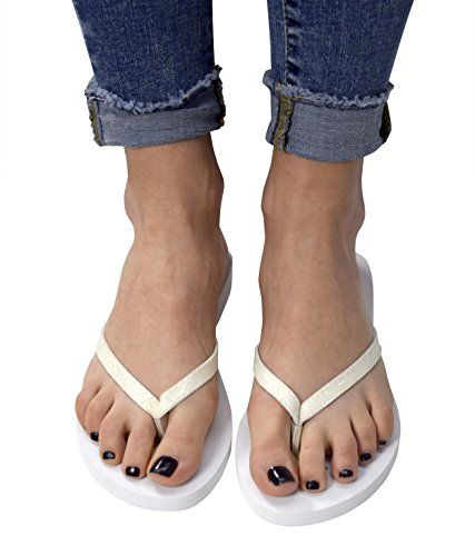 White Women's Glitter Embellished Strappy Heart Design Slip On Sandals
