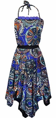 Royal Blue Women's Handkerchief Multicolor Loose Fit Top Boho Dress XL