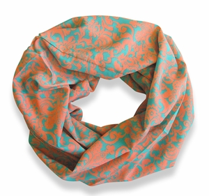 Peach Couture Women's Henna Print Infinity Loop Scarves (Blue/Pink)