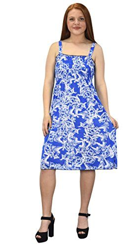 Blue-White Women's Knee Length Exotic Smocked Printed Summer Dress (L)
