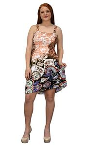 Coral Brown Women's Knee Length Multicolor Exotic Smocked Printed Summer Dress Floral