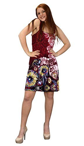 Red White Floral Knee Length Multicolor Exotic Smocked Printed Summer Dress