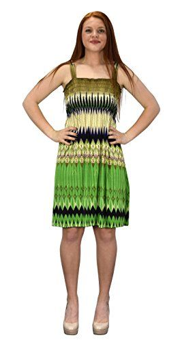 Cream Green Women's Knee Length Multicolor Exotic Smocked Printed Summer Dress (Large)