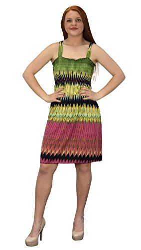 Yellow Pink Women's Knee Length Multicolor Exotic Smocked Printed Summer Dress (Large)
