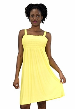 Solid Yellow Women's Knee Length Multicolor Exotic Smocked Printed Summer Dress (XL)