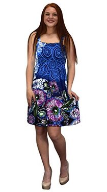 Sky Blue Navy Women's Knee Length Multicolor Exotic Smocked Printed Summer Floral Dress