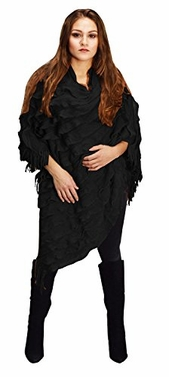 Light Trendy Ruffle Batwing with Fringe Shawl Wrap Poncho (One Size, Ebony)