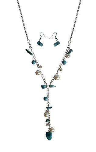 White Women's Long Chain Turquoise Pearl Gem Charm Necklace Earrings Set