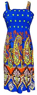 Multi Color Women's Midi Exotic Smocked Spring Summer Dress XL