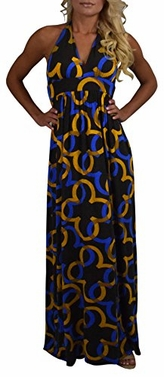 Peach Couture Women's Mustard & Blue Print Halter Maxi Dress (Extra Small)