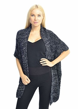 Black Women's Oversized Warm Black Crochet Knit Sweater Shawl Wrap
