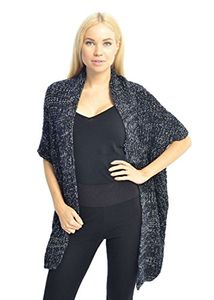 Peach Couture Women's Oversized Warm Black Crochet Knit Sweater Shawl Wrap (Black)