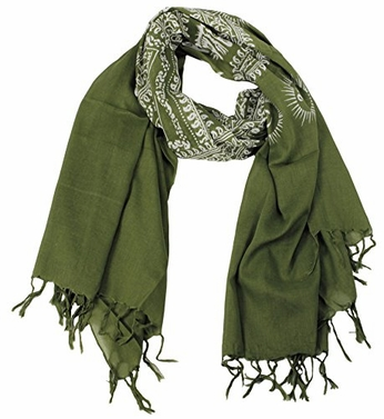 Green/White Women's Peace and Love Mantra Printed Fashion Scarf