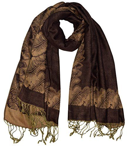 Brown Women's Ravishing Reversible Jacquard Paisley Shawl Wrap Pashmina