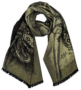 Women's Ravishing Reversible Metallic Paisley Shawl Wrap Pashmina