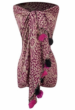 Fuchsia Retro Style Warm Floral Animal Print Pashmina Scarf with Faux Fur Poms