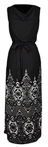 Sleeveless All-Over Patterned Long Casual Evening Dress Large