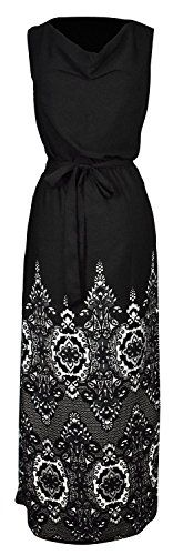 Sleeveless All-Over Patterned Long Casual Evening Dress Small