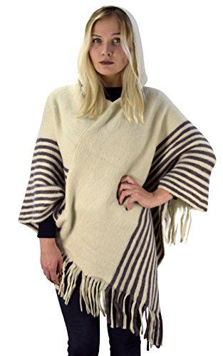 Peach Couture Women's Snug and Warm Crochet Hooded Fringe Wrap Shawl Poncho (Cream/Brown)