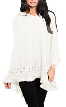 Peach Couture Women's Snug and Warm Crochet Hooded Fringe Wrap Shawl Poncho (Off White)