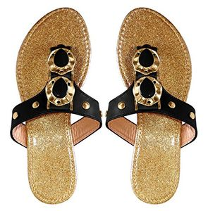 Women`s Sparkle Metal Flat Beach Open Back Thong Sandal 6