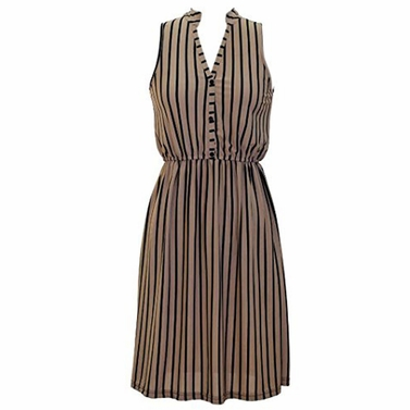 Brown Retro Stripes Button Up Dress