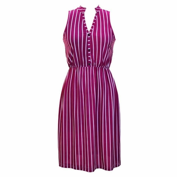Fuchsia Vintage Stripes Button Up Dress