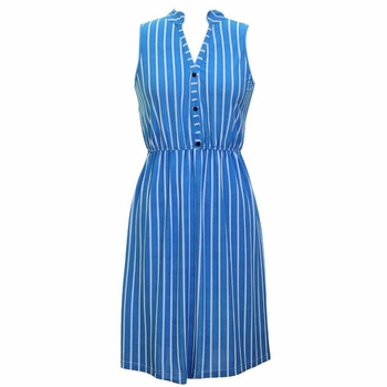 Blue Retro Stripes Button Up Dress