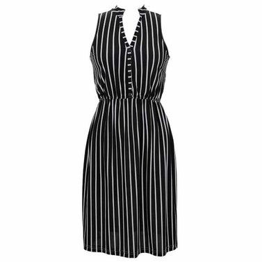 Black Retro Stripes Button Up Dress
